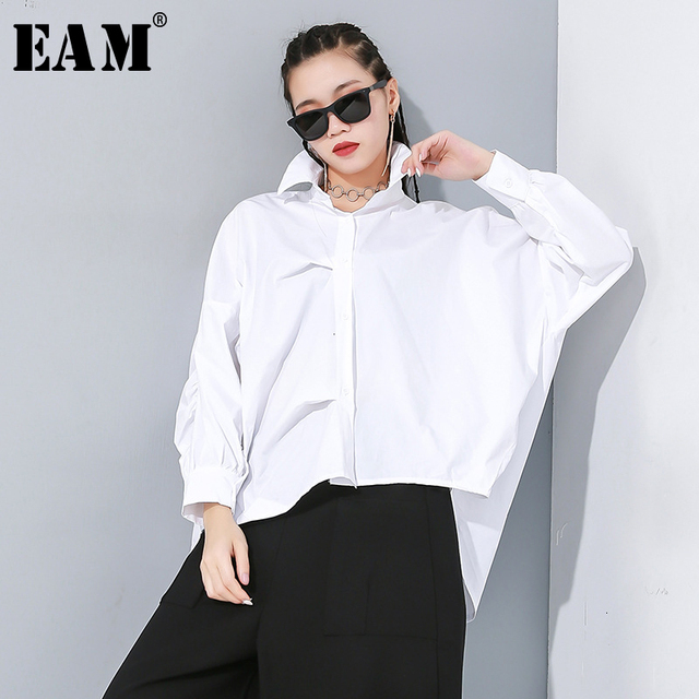 [EAM] Women White Asymmetrical Split Big Size Blouse New Lapel Long Sleeve Loose Fit Shirt Fashion Tide Spring Autumn 2020 1N189