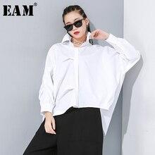 [Eam] feminino branco assimétrico divisão tamanho grande blusa nova lapela manga longa solto ajuste camisa moda maré primavera outono 2020 1n189