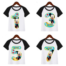 цена на Boys Cartoon Mouse Birthday Numbers 1-9 Print T Shirt Funny Clothes Children Summer T-shirt Kids T Shirt Children T-shirt