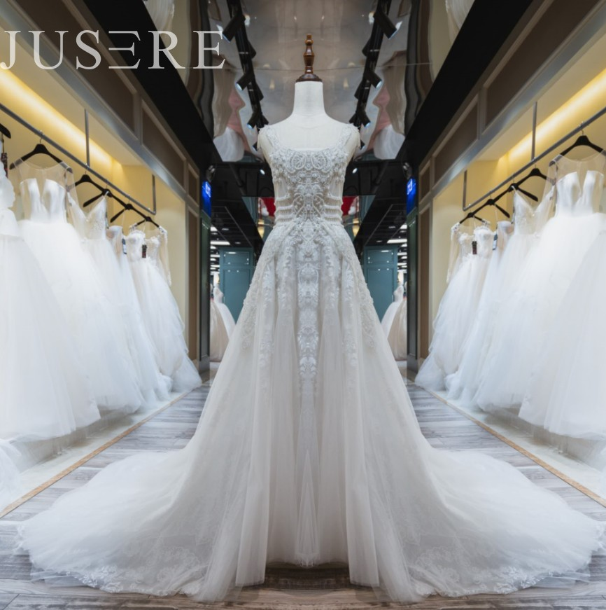 Jusere In stock A Line Tulle Bridal Dresses Beaded  Wedding Dresses Fast Shipping haute couture