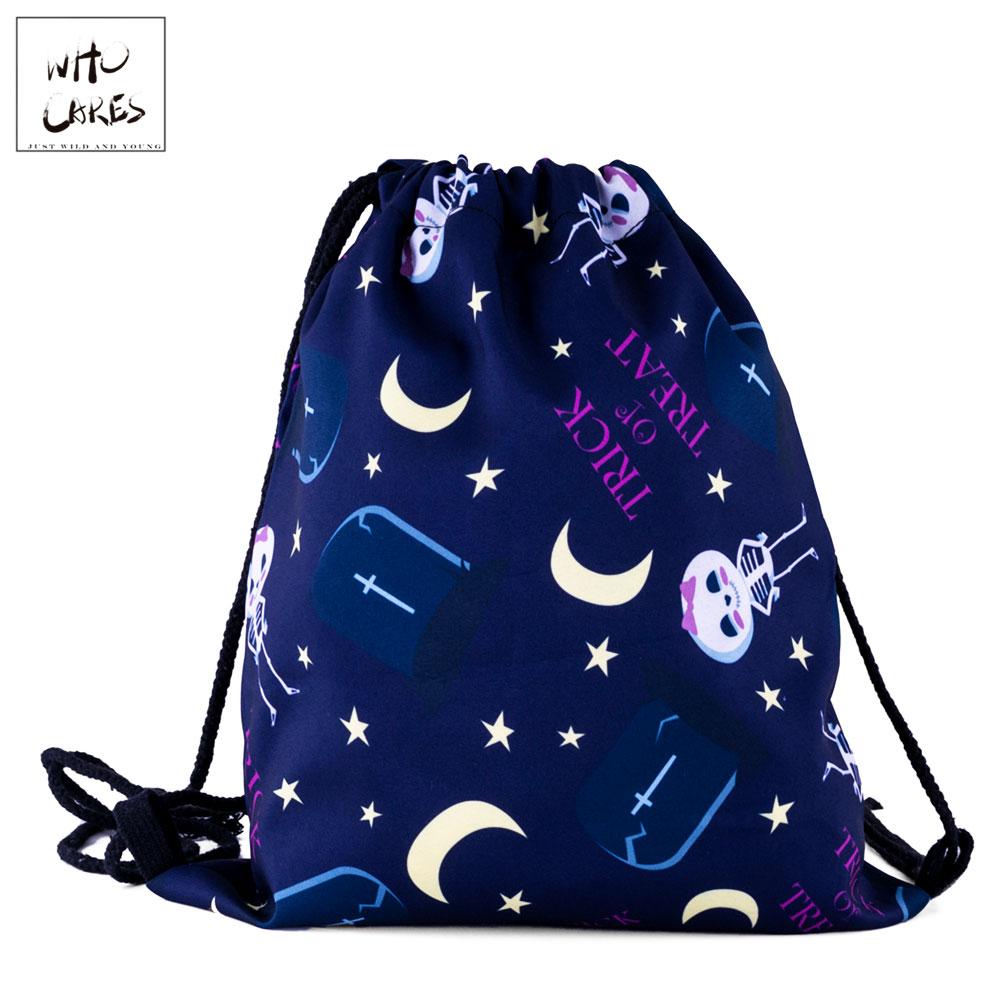 Who Cares Gym Drawstring Bag Backpack Women Shopping Bag Star And Moon Skull 3D Printing Travel Softback Bag Portable Shoe Bag