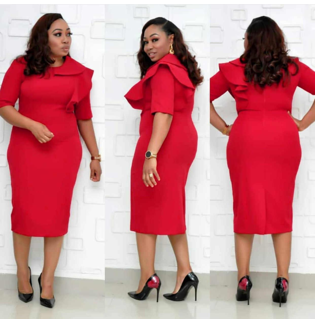 2019 nuovo autunno elegent stile di modo africano di bellezza delle donne più il vestito da formato L-XXL