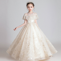 New Princess Lace Dress Kids Embroidery Flowers Dress Girls Children Dress Wedding Birthday Party Formal Ball Gown Prom Dress