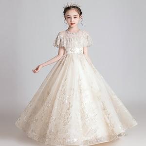 Nuevo vestido de encaje de princesa vestido de flores bordadas para niños vestido de niñas vestido de fiesta de cumpleaños de boda Formal vestido de fiesta de graduación