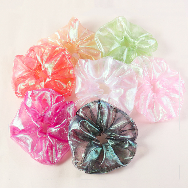 Women Statement Oversized Laser Luster Gauze Hair Ropes Scrunchy Elastic Hair Bands Multi Color Wide Head Band Shiny Hair Ties