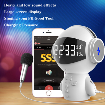 Clock Bluetooth Speaker Robot Second Generation 2 Multifunction Charging K Song Alarm Mini Microphone Bluetooth Speaker m100
