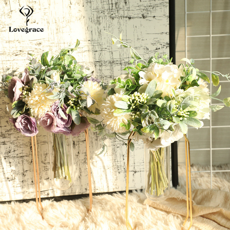 Imitation Peonies Hydrangea Pompon Bouquet Flore Silk Flower Green Leaves Wedding Home Decoration Mixed Fake Peony Flower Bundle
