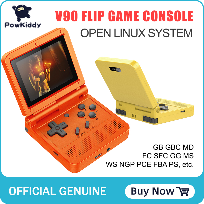 POWKIDDY v90 3-inch IPS screen Flip Handheld console dual open system game console 16 simulators retro PS1 kids gift 3D new game 1