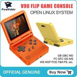 POWKIDDY v90 3-zoll IPS bildschirm Flip Handheld konsole dual open system spielkonsole 16 simulatoren retro PS1 kinder geschenk 3D neue spiel