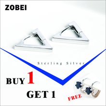 ZOBEI Real 925 Sterling Silver Minimalist Geometric Triangle Clip Earrings For Fashion Women Party Vintage Fine Jewelry