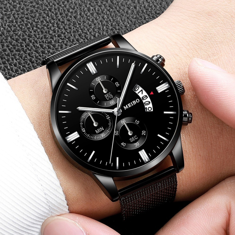 Men Watch Branded Luxury Mens Quartz Watches Perpetual Calendar Watch Black The Man Fashion Clock  Relogio Masculino