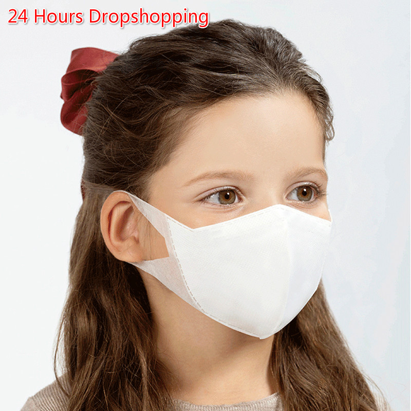 50pcs/Lot Disposable Children's Mask Non-woven Dust Mask 3-Layers Anti-pollution PM2.5 Kids Masks Unisex 24 Hours Fast Shipping