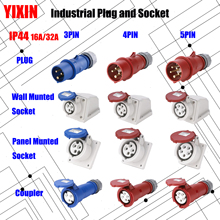 цена на MN Industrial Plug and Socket 16A 32A 3 pin 4 pin 5 pin ip44 Wall Mounted Socket Panel Mounted Coupler 220V 380V 415V