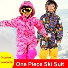 Цельный лыжный костюм Детская куртка для катания на лыжах + штаны для сноуборда для девочек и мальчиков водонепроницаемый ветрозащитный Ко...