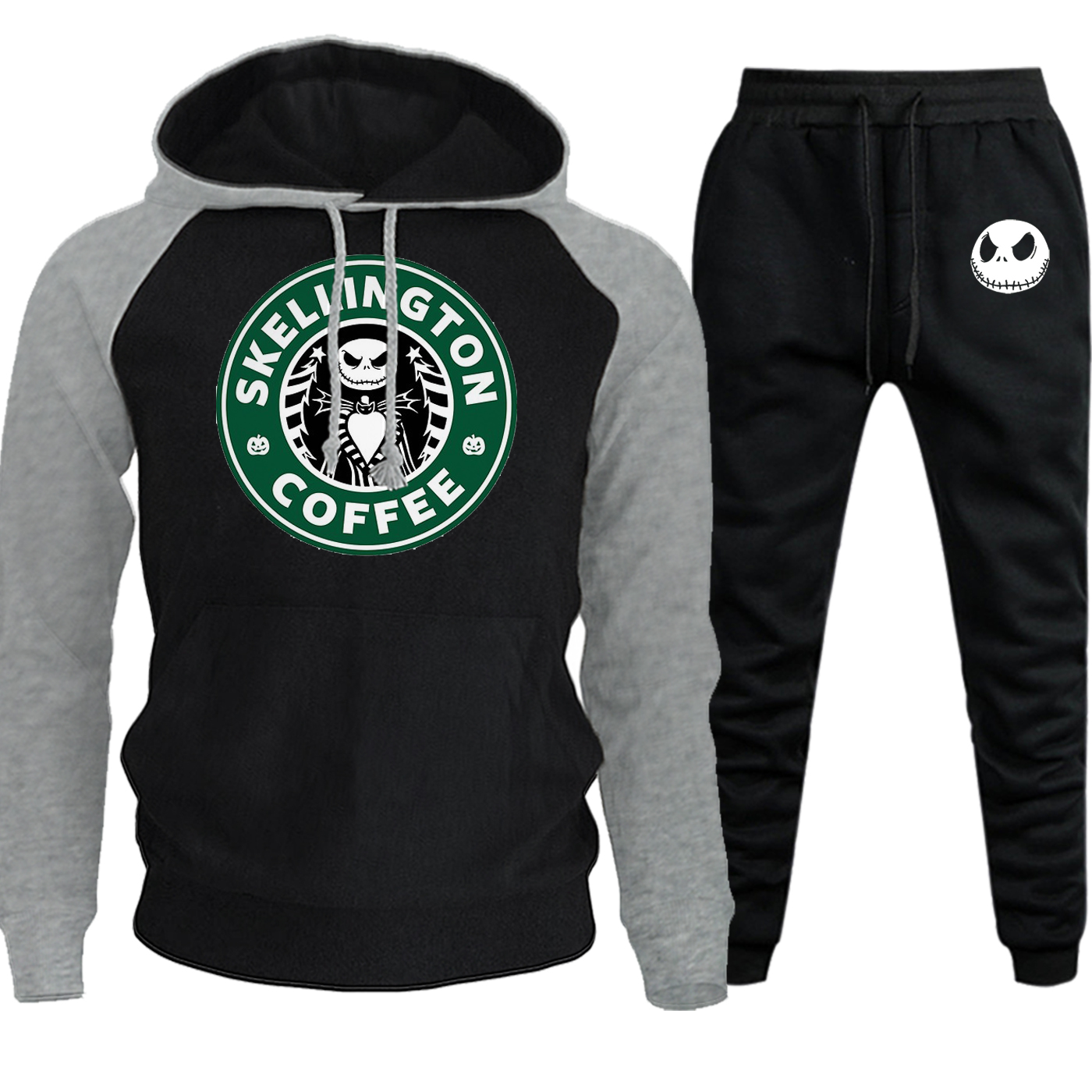 Fleece Hooded Jack Coffee The Nightmare Autumn Winter 2019 Sportswear Mens Hoodies Raglan Suit Male Pullover+Pants 2 Piece Set