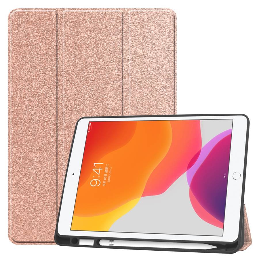 rgold Silver Slim Smart PU Leather Case For Apple iPad 10 2 2019 with Pencil Holder Cover For