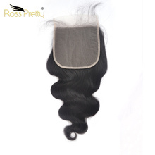 Lace Closure Brazilian Body Wave Swiss Transparent lace 6x6 hair Large Natural Black Remy Human Hair Ross Pretty Brand