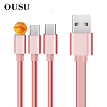 OUSU 3 in 1 Charging Cable For xiaomi redmi note 7 2.1A Fast Charge Retractable USB Type C kabel samsung s8 Micro
