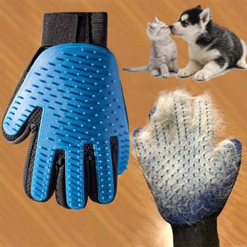 Silikonowy pies rękawica do pielęgnacji dla zwierząt kotów szczotka grzebień Deshedding rękawiczki do włosów psów do kąpieli kot do czyszczenia zwierząt domowych pies zwierząt grzebienie tanie i dobre opinie PetMundo CN (pochodzenie) Z tworzywa sztucznego Dog Comb