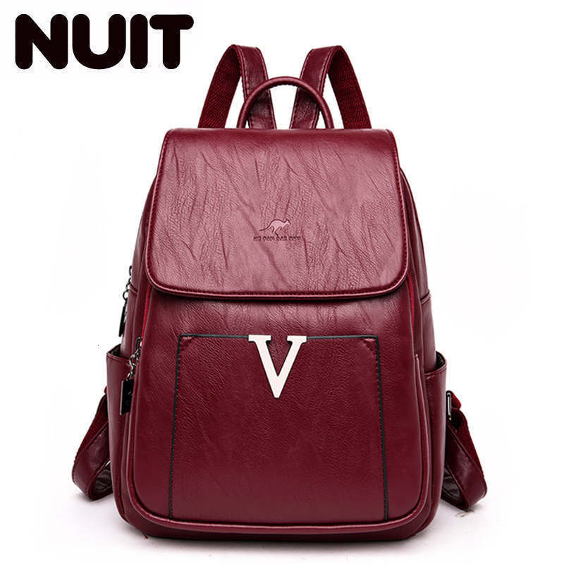 2020 New Luxury Soft Leather Women Backpack High Quality Simple V Letter School Bags For Teenage Girls Large Capacity Travel Bag