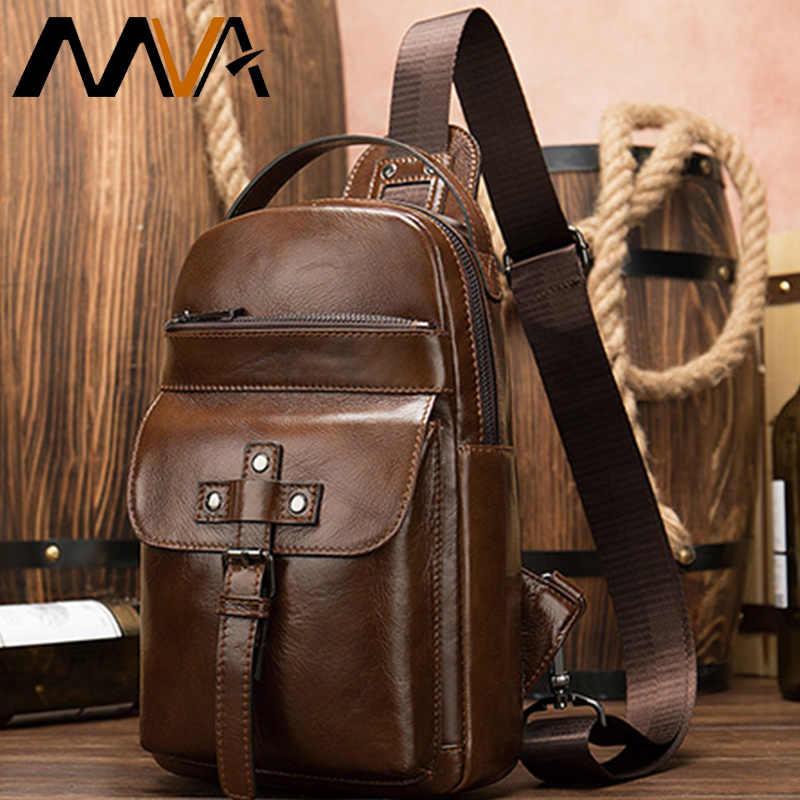 MVA Vintage Pria Dada Tas Messenger Pria Kulit Asli Tas Bahu untuk Pria Pria Tas Selempang Pria Sling tas Dada Tali