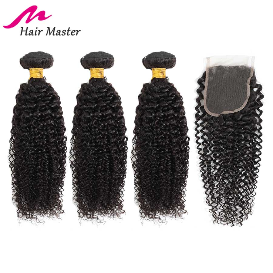 Hair Master Malaysian Curly Bundles With Closure Remy Human Hair Weave Kinky Curly Hair Bundles With Closure Hair Extensions