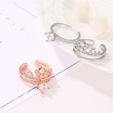 2 In 1 Shape Rhinestone Crown Crystal Rings For Women Girl Wedding Bridal Party  Rose Gold Ring Jewelry Fashion Trendy bella fashion lovely crown frog animal party ring green enamel open ring gold tone for women girl party daily jewelry gift