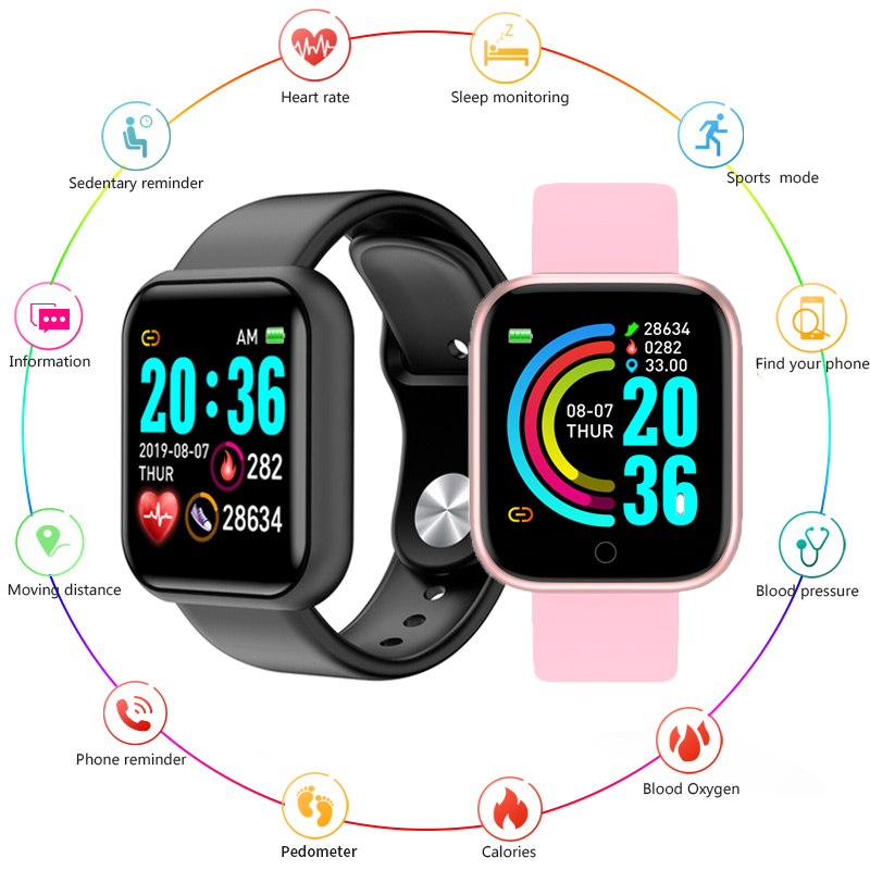 Y68 Smart Watch Men D20 Pro Fitness Smart Band Heart Rate Monitor Blood Pressure Sports Tracker Bracelet For IOS Android Phone