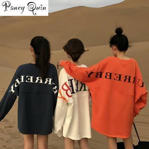 Oversized Hoodie Sweatshirts Pullover Knitted Long-Sleeve Streetwear Women Print O-Neck