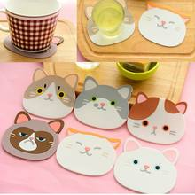 2pcs Coaster Cup Mat Cute Silicone Cartoon Cat Coffee Cup Mug Pad Placemat Non-slip Table Pad Heat Resistant Kitchen Mat(China)