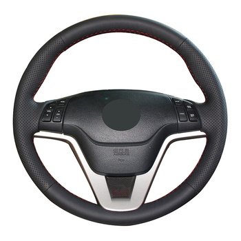 Hand-stitched Black Genuine Leather Anti-slip Car Steering Wheel Cover for Honda CR-V CRV 2007 2008 2009 2010 2011