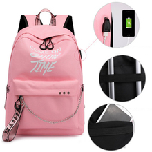 New Luminous USB Charge Women Backpack Mochila Sac A Dos Fashion Letters Print School Bag Teenager Girls Ribbons