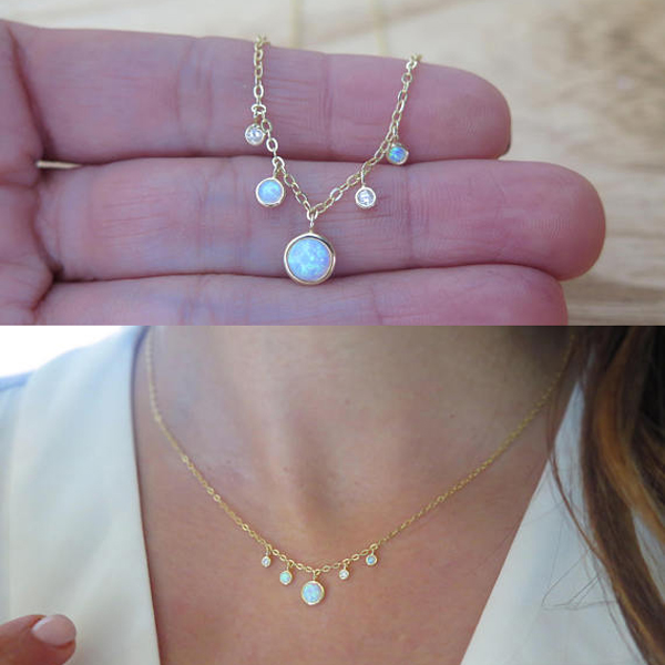 Pendant Necklace Jewelry Gold-Chain Opal Stunning Chocker 925-Sterling-Silver White Women