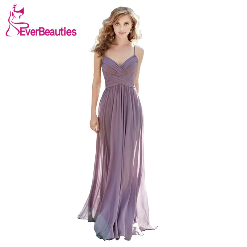 Graceful   Bridesmaid     Dresses   Elegant 2019 Party   Dress   Spaghetti Strap Vestido Madrinha Long Chiffon Robe Demoiselle D'honneur