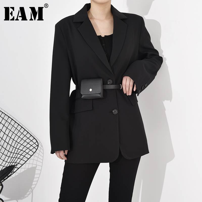 [EAM]  Women With Belt Big Size Black Blazer New Lapel Long Sleeve Loose Fit  Jacket Fashion Tide Spring Autumn 2020 1R73301