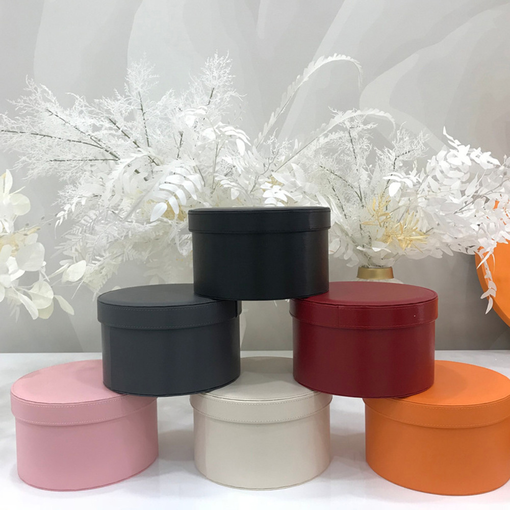 Flower Bucket Round Leather Box Florist Gift Packaging Bouquet Holder Home Decor With Lid For Wedding Birthday Valentine's Day Let Our Commodities Go To The World