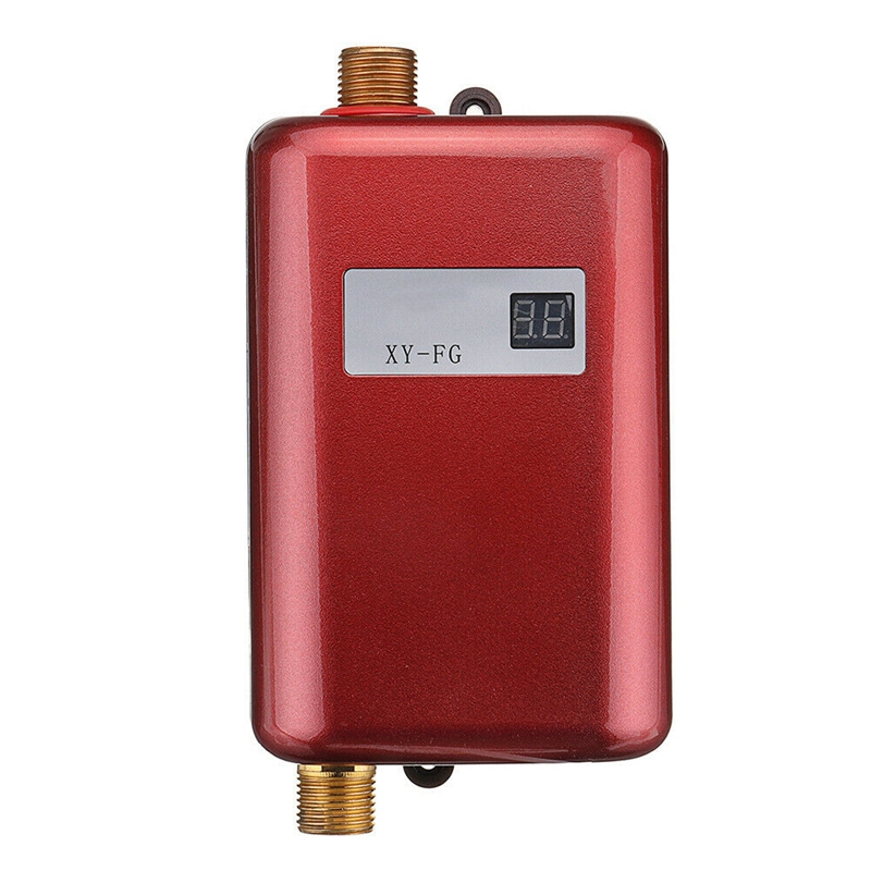3800W Mini Electric Tankless Instant Hot Water Heater Temperature Display Heating Shower Universal EU Plug Red