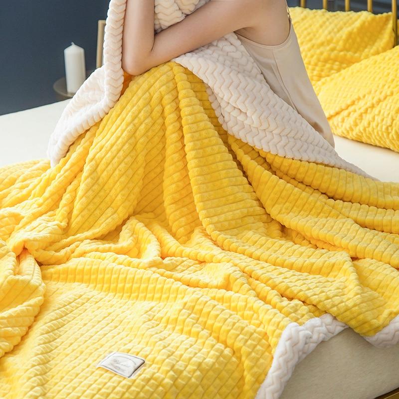 Solide couleur maille douce double couche épaissir couverture magique velours corail tapis canapé couverture Beibei couverture couvertures literie # a