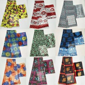 Image 3 - Hot sale Ghana Style satin silk fabric  with organza ribbon African wax design ! J52602
