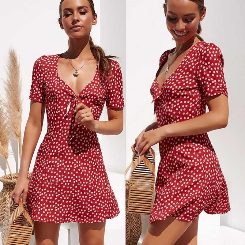 แฟชั่นผู้หญิงสั้นแขน Boho Floral Mini Dress สุภาพสตรีฤดูร้อน Holiday PARTY Sundress หญิง vestidos