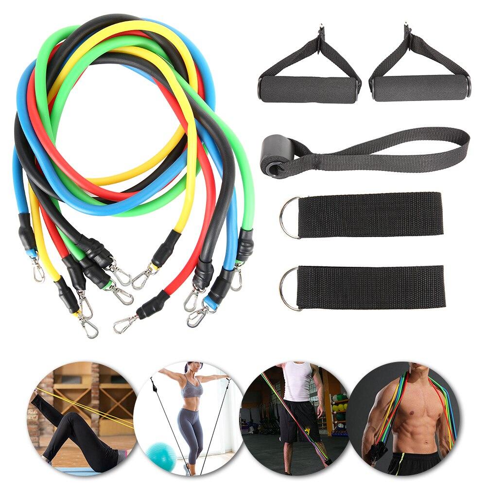 11 pçs aptidão puxar corda resistência bandas látex força equipamentos de ginástica para casa exercícios elásticos corpo equipamentos de treino de fitness