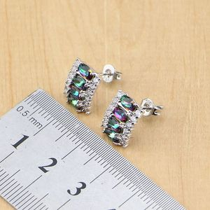 Image 4 - 925 Silver Jewelry Mystic Rainbow Fire Imitation Stones Jewelry Sets Women Wedding Earrings/Pendant/Necklace/Rings/Bracelet