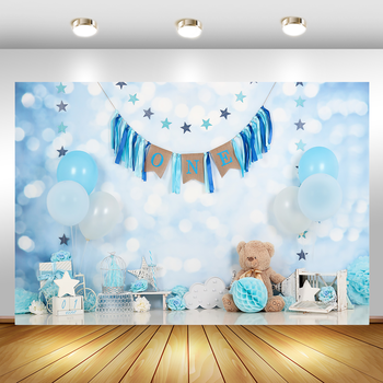 1st Birthday Background for Photography Blue Balloons  Newborn Baby Photographic Studio Photo Backdrop Bear Stars Decor Props 5x7ft dark blue backdrop dark blue ocean world photography background and photography studio backdrop props