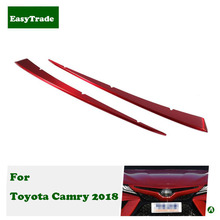 For Toyota Camry 2018 accessories Car Styling Chrome Front Grille mid Net upper Decoration strip Cover Trim car accessories 1set chrome front upper