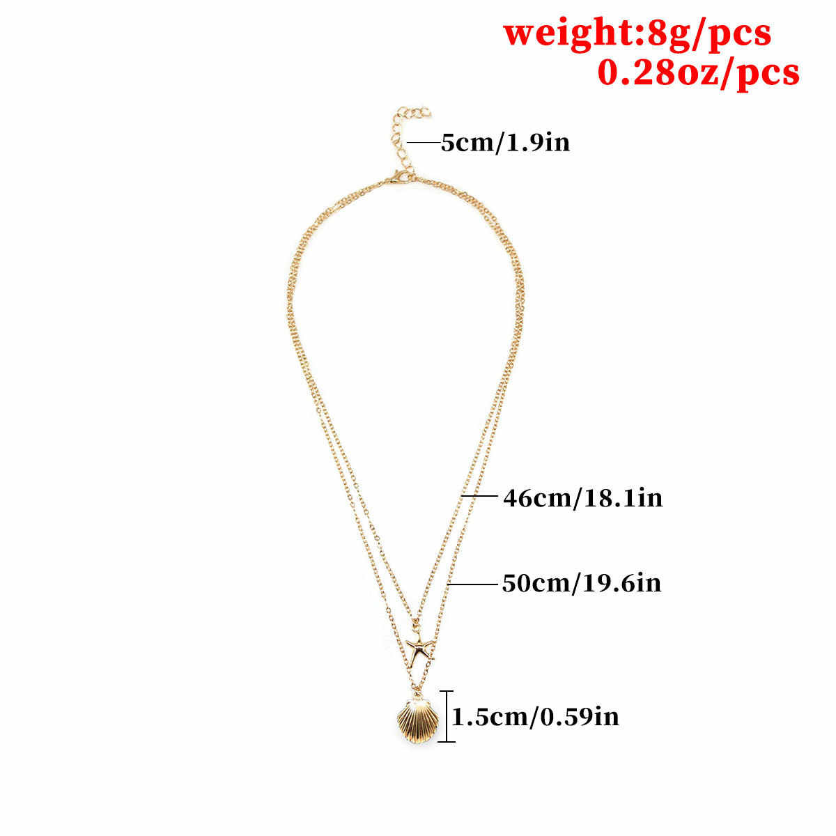 Fashion Jewelry Shell Multi-layer Necklace Personality Starfish Pendant Chain Necklaces for Women Accessories