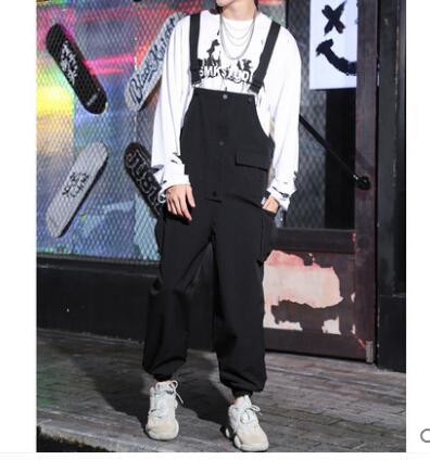 Street Fashion Tooling Overalls Pants Men's 2019 New Men's Hip Hop Loose Straight Bib Suspenders Pants