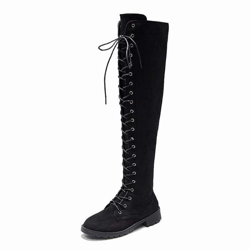 QWEDF ขนาด 34-43 2019 ใหม่รองเท้าผู้หญิงรองเท้าสีดำเหนือเข่ารองเท้าบูทเซ็กซี่หญิงเลดี้ฤดูใบไม้ร่วงฤดูหนาวต้นขาสูงรองเท้า XP-94