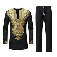 African Men Clothing 2019 Black Mens Dashiki Shirt African Bazin Tops Pants Set 2 Pieces Outfit Set Men African Clothes XXXL(China)