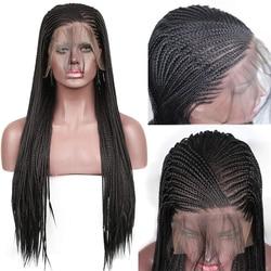 Charisma 13X6 Gevlochten Pruiken Synthetische Lace Front Pruik Zwarte Kleur Gevlochten Doos Vlechten Pruik Met Baby Haar Pruiken voor Zwarte Vrouwen