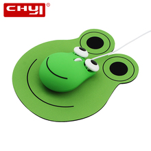 Wired Mouse Computer Cute Frog-Design Optical 3-Buttons 1600 USB DPI with Pad for Desktop
